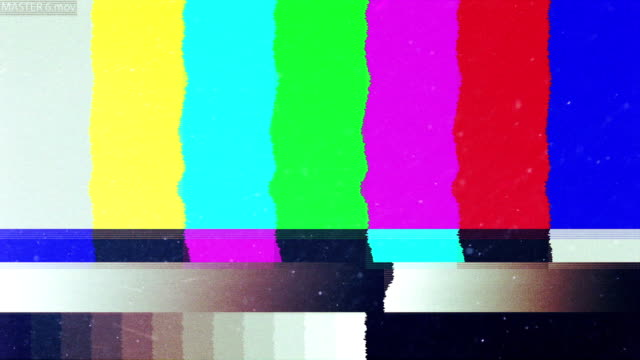 Noise on TV screen. Bars of analog TV static moving.