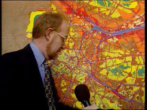 noise pollution; itn england: birmingham: int i/c detail of map gavin tringham interview sot - here is noise map of birmingham/ noisiest parts are... - railway junction stock videos & royalty-free footage