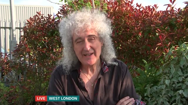 Brian May interview ENGLAND London GIR Presenter in studio / Brian May in Kensington Brian May in Kensington LIVE interview SOT SPLIT SCREEN...