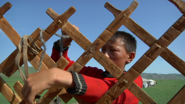 ms nomad boy moving camp / central-south mongolia, mongolia - minority groups stock videos & royalty-free footage