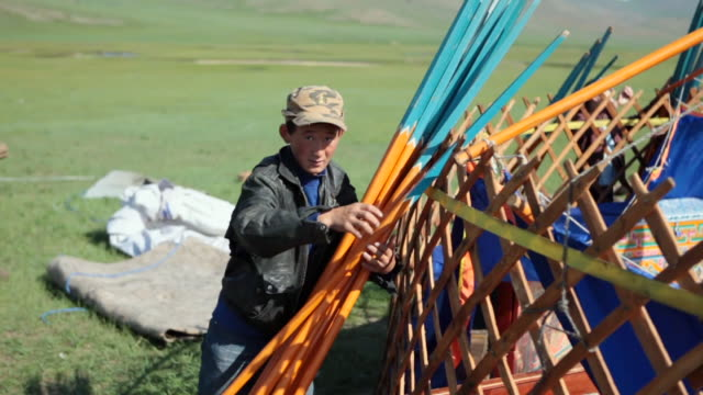 ms nomad boy moving camp / central-south mongolia, mongolia - nomadic people stock videos & royalty-free footage