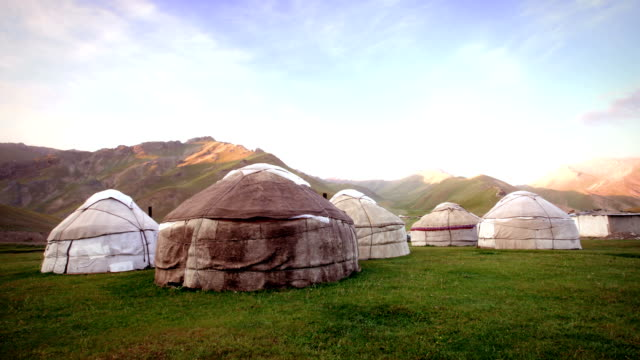 nomadic asian yurt camp - independent mongolia stock videos & royalty-free footage