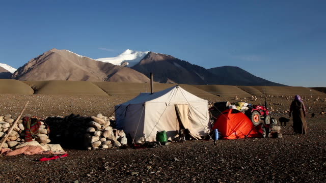 nomadic people at tibet - tent stock videos and b-roll footage