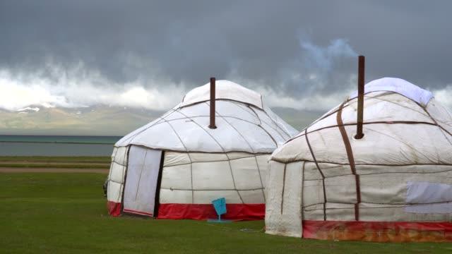 nomadic tents known as yurt at the song kol lake, kyrgyzstan - adventure stock videos & royalty-free footage