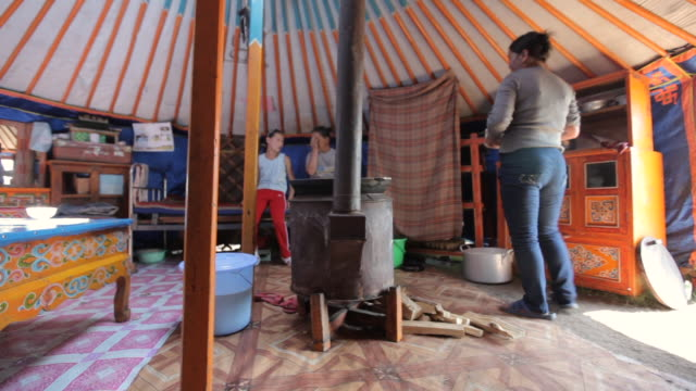 MS Nomads women in Yurt / Central-south Mongolia, Mongolia