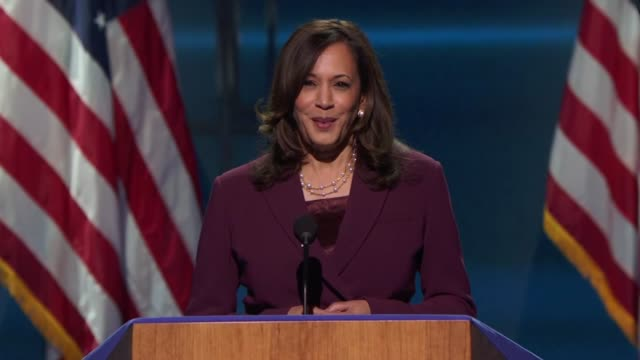 vidéos et rushes de nominee for vice president kamala harris says in her acceptance speech to the 2020 democratic national convention that something was happening in... - press conference