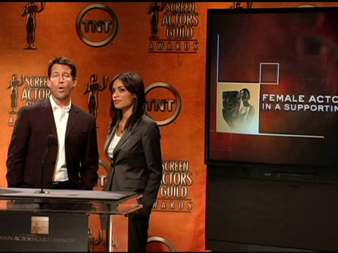 nominees for female actor in a supporting role at the 2005 screen actors guild sag awards nominations announcements at pacific design center in west... - nomination stock videos & royalty-free footage