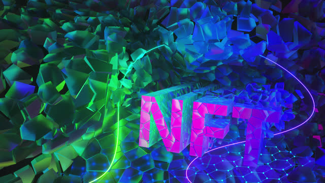non-fungible token art. the letters of the cryptocurrency nft are mined from pieces of rock. 3d render illustration - collection stock videos & royalty-free footage