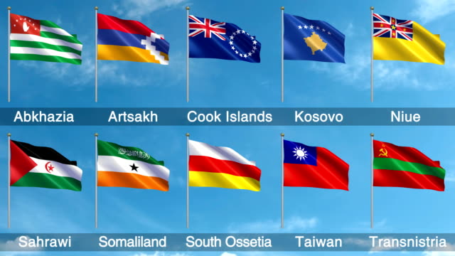 non-un world flags set + alpha channel (loopable) - samoa stock videos & royalty-free footage