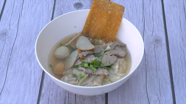 noodles bowl with fish ball - fish stock videos & royalty-free footage