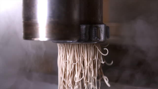 noodles coming out from a noodle-making machine / jung-gu, incheon, south korea - steam stock videos & royalty-free footage