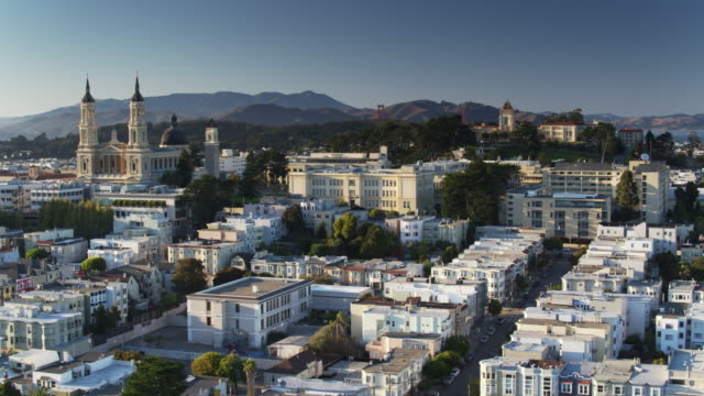 nopa, san francisco - aerial view - san francisco california video stock e b–roll