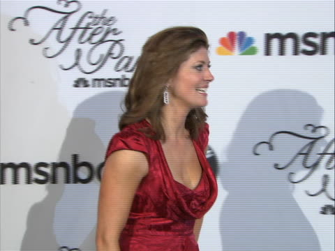nora o'donnell posing on the red carpet at the white house correspondent's dinner. - msnbc stock videos & royalty-free footage