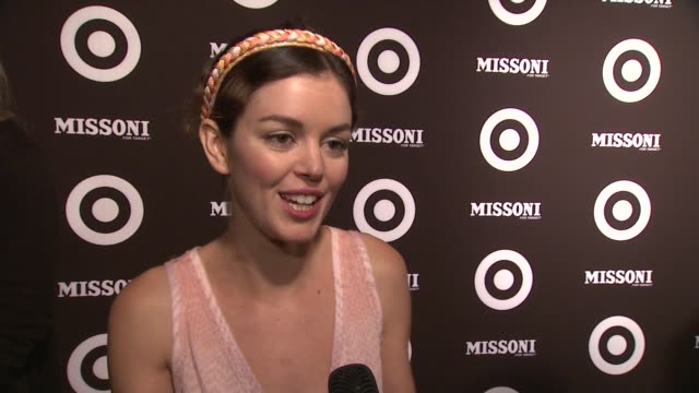 vídeos de stock, filmes e b-roll de nora zehetner says she thinks it's great when missoni becomes affordable at the missoni for target private launch event at new york ny - missoni