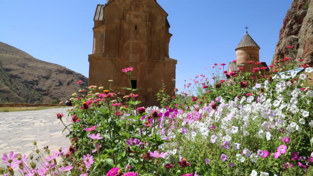 Noravank monastery, butterfly and flowers in the entrace of the complex, and Surb Astvatsatsin in the background