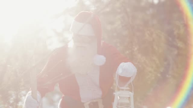 Nordic Santa Claus in the sunset (slow motion)