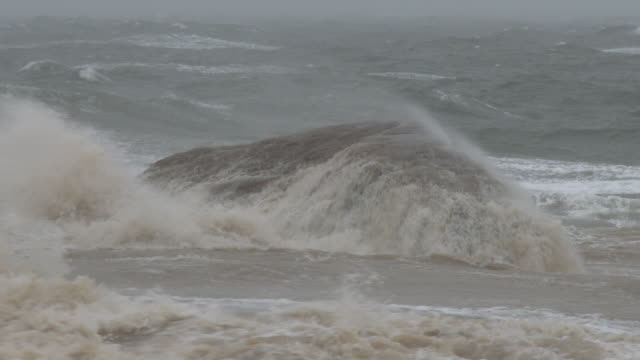 Nor'easter, Large Waves Crashing Over Rocks