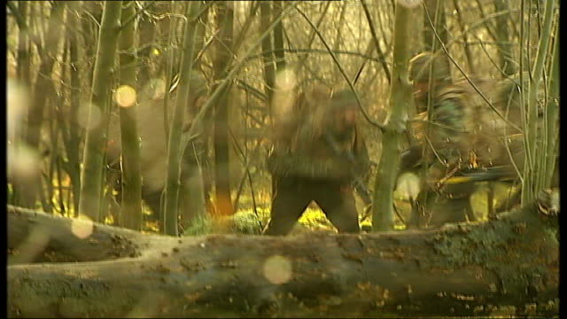 norfolk ext various of territorial army soldiers training in woodland area with regular soldiers - military training stock videos & royalty-free footage