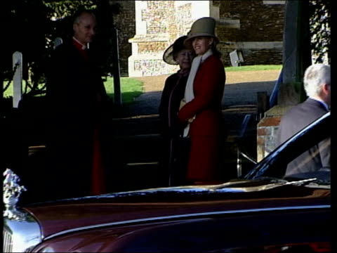 Norfolk Sandringham Queen Elizabeth II and the Countess of Wessex outside church Prince Philip Princess Royal Prince William Rear Admiral Timothy...