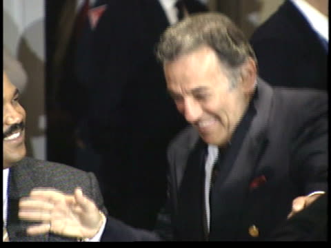norm crosby smiling and joking in crowd before ceremony - friars roast 1993 stock videos and b-roll footage