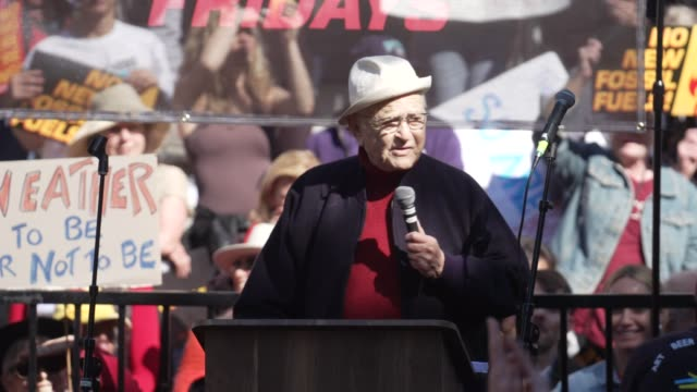 interview norman lear on climate change his age jane fonda being his hero at jane fonda's fire drill friday at los angeles city hall on february 07... - fire drill stock videos & royalty-free footage