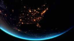 US - North America Earth at Night City lights 4K