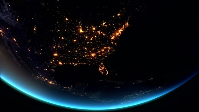 us - north america earth at night city lights 4k - turning stock videos & royalty-free footage