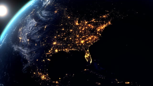 north america earth at night city lights - north america stock videos & royalty-free footage