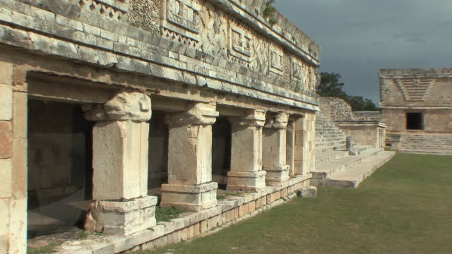 ms zo north and east building of nunnery quadrangle at pre-columbian ruined city of maya civilization / uxmal, yucatan, mexico - pre columbian stock videos & royalty-free footage
