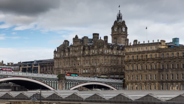 north bridge, edinburgh - time lapse - old town bridge tower stock videos and b-roll footage