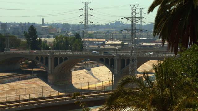 zo, ws, ha, north broadway buena vista bridge, los angeles, california, usa - fan palm tree stock videos & royalty-free footage