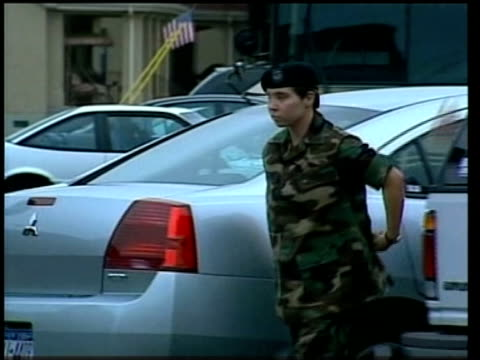 fort bragg: ext us army private lynndie england along from car as arriving at military hearing to face charges of abusing iraqi prisoners england... - krishnan guru murthy stock videos & royalty-free footage