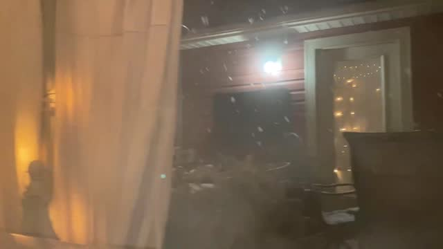 north carolina man didn't let snowfall deprive him of a dip in his outdoor hot tub during the early-morning hours of january 8, as a winter storm... - https stock-videos und b-roll-filmmaterial