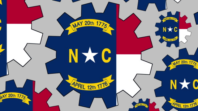north carolina us state flag gears spinning background zooming out - north carolina us state stock videos & royalty-free footage