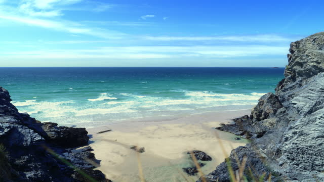 north cornwall coast. between treyarnon bay and porthcothan. - cliff stock videos & royalty-free footage