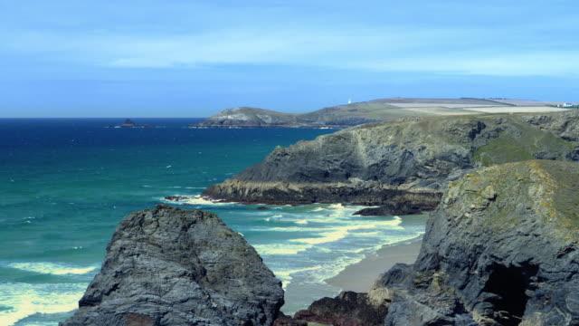 north cornwall coast. looking towards trevose head lighthouse. - cornwall england stock videos & royalty-free footage