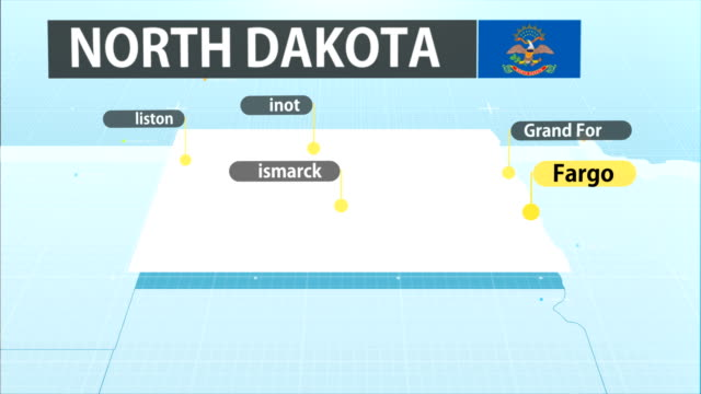 north dakota state map - bismarck north dakota stock videos & royalty-free footage