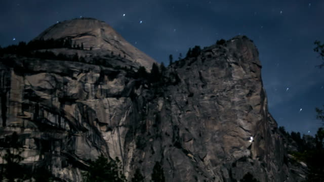 north dome in yosemite at night - granite rock stock videos and b-roll footage