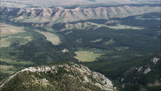 north edge of custer national forest  - aerial view - montana, carbon county, united states - national forest stock videos and b-roll footage