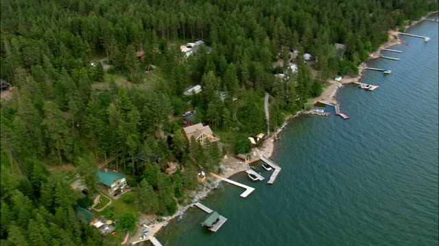 north end of flathead lake  - aerial view - montana, flathead county, united states - flathead lake stock videos and b-roll footage