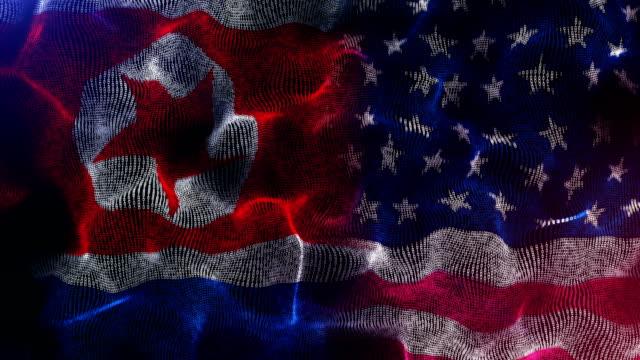north korea and american flag - north korea stock videos & royalty-free footage