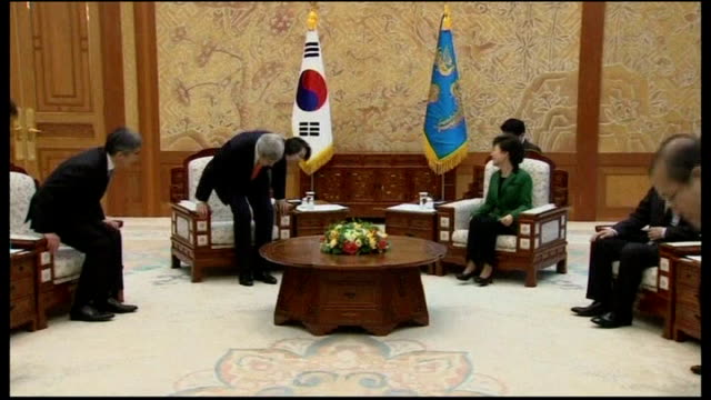 John Kerry visits South Korea / report suggests North Korea may have nuclear capability SOUTH KOREA Seoul INT John Kerry handshake with South Korean...