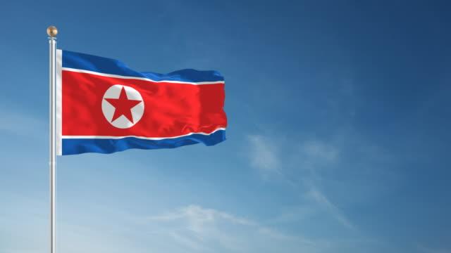 4k north korea flag - loopable - pyongyang stock videos and b-roll footage
