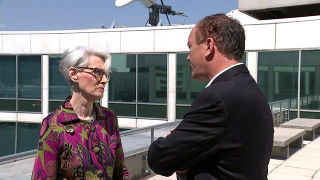 North Korea halts missile and nuclear tests USA EXT Wendy Sherman set up shots with reporter / interview SOT