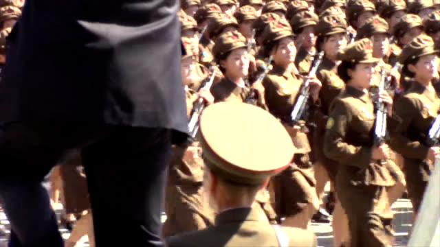 north korea holds a military parade to marks the 70th anniversary its founding leader kim jong un and important chinese dignitaries appeared at the... - north korea stock videos & royalty-free footage