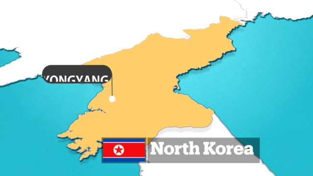 north korea map with flag - north korea stock videos & royalty-free footage