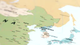 ASIA North Korea on World Map