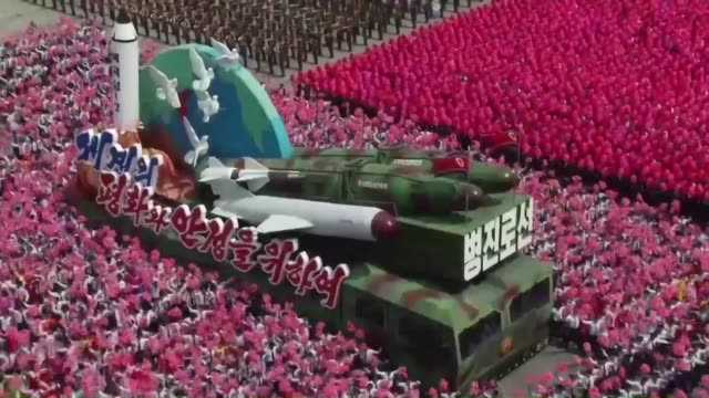 north korea starts staging a vast military parade on saturday to mark the 105th anniversary of its founding leader's birth amid growing tensions over... - parade stock videos & royalty-free footage