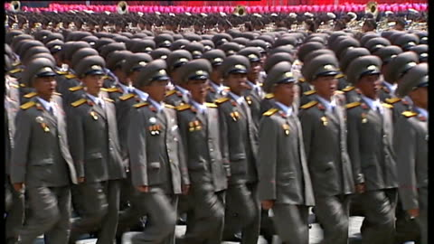 north korea uncovered': at breaking point?; t27071311 / tx north korea: pyongyang: ext various shots north korean soldiers marching in military... - north stock videos & royalty-free footage