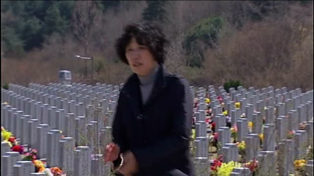 north korea urges all foreigners to leave south korea in new threat of war south korea the national cemetery ext gv graves seen beyond barrel of gun... - 2013年 北朝鮮の核実験点の映像素材/bロール